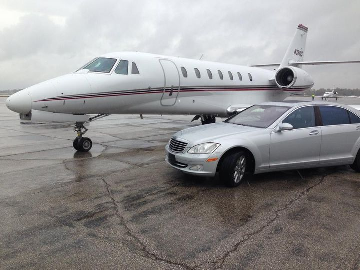 private jet with benz
