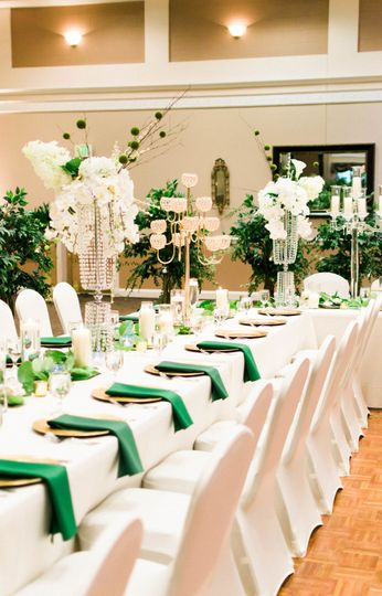 Long table setup with a touch of green