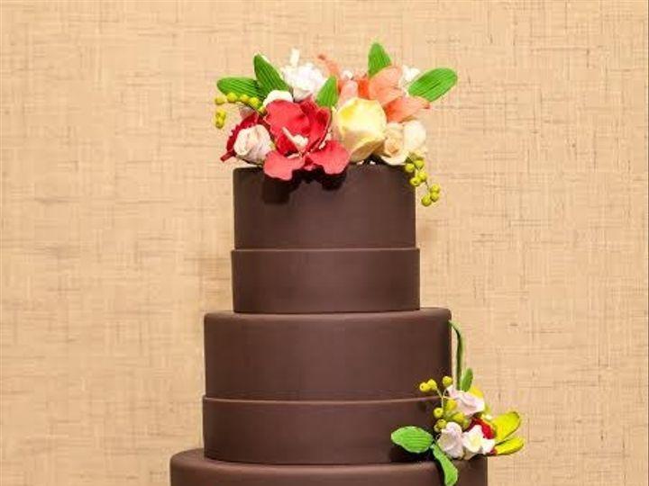 Tmx 1398396226238 Chocolatetieredwithflower Brooklyn wedding cake