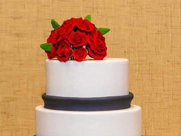 Tmx 1398396428923 Whiteandblackandredcak Brooklyn wedding cake