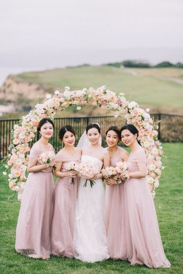 Blush wedding bridal party