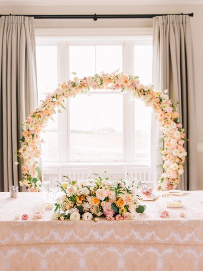 Blush wedding sweetheart table