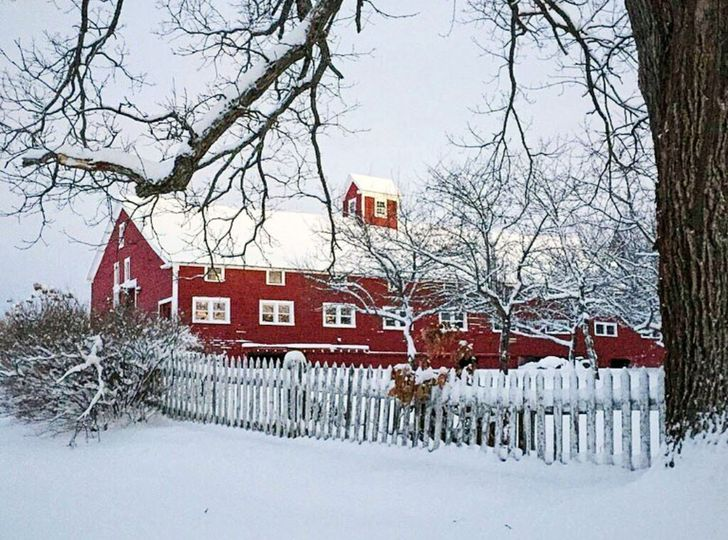 Snow on the Big Red Barn