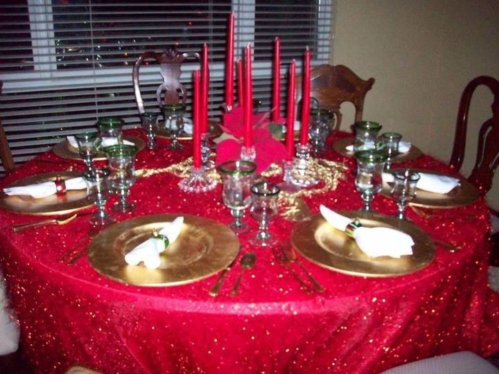 Table set up with candle centerpiece