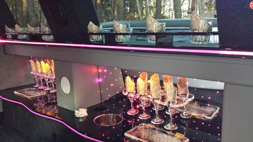Inside our Aspen Limousine that holds 12 to 13 people.