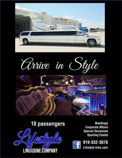 Cadillac Escalade stretch limousine that holds 18 to 20 passengers.