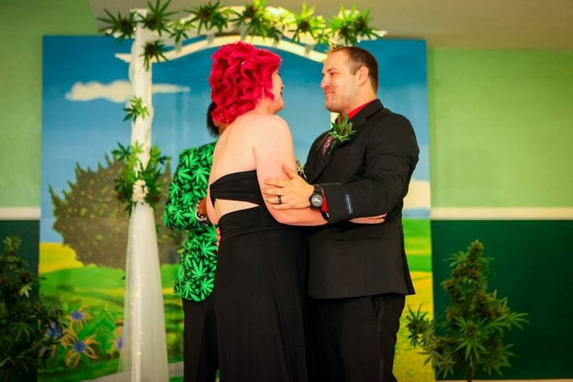 bride groom at altar