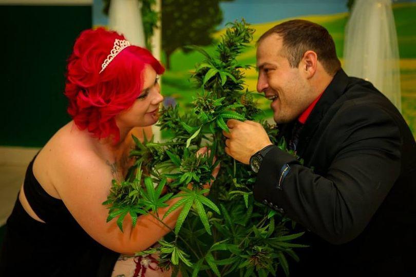 bride groom on plants