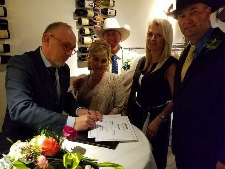 Marriage certificates being signed