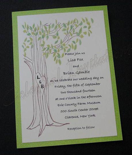hand drawn tree invitation