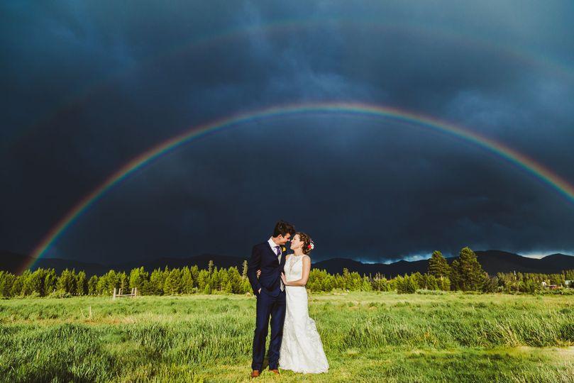 Couple with rainbow