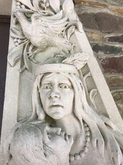 Susquehannock woman scuplture at front entrance