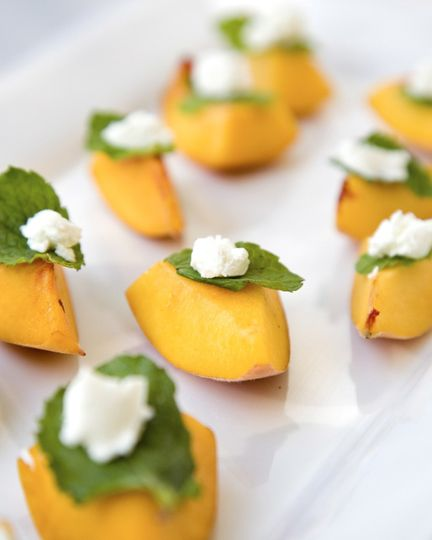 fresh peach with mint and goat cheese