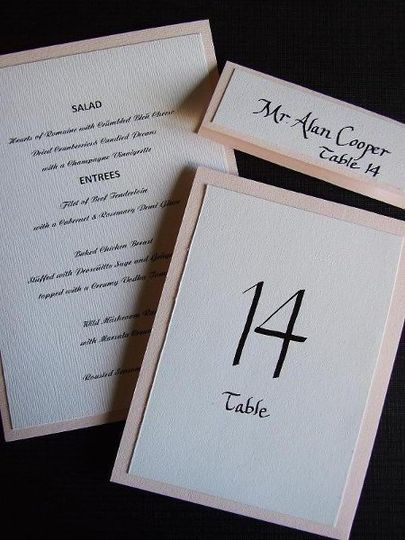 Table numbers, place cards, menus