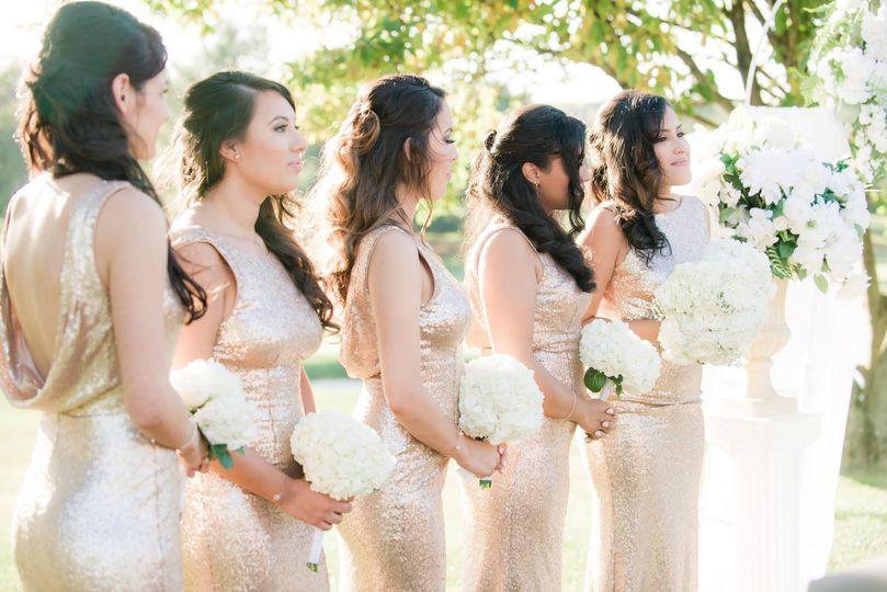 Bridesmaids awaiting the bride