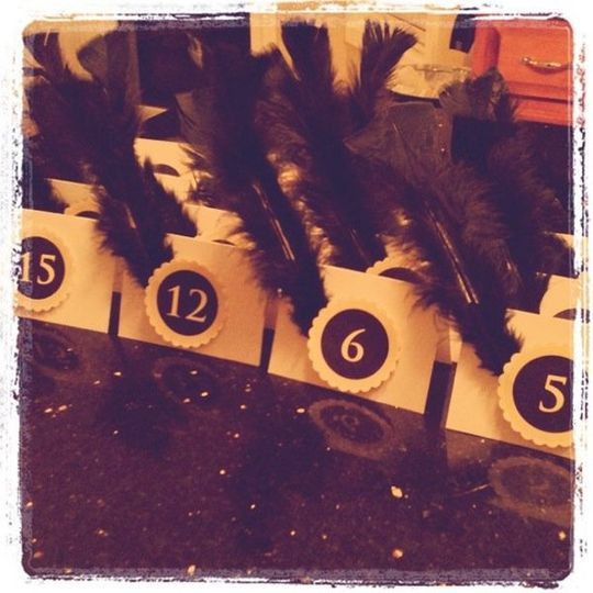 Table Cards With Feather & Scalloped Circle Numbers. Custom with your colors. 