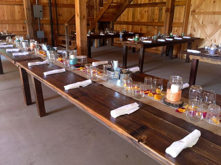Long table set-up with candle lighting