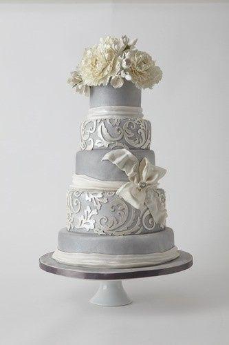 Gray and white cake