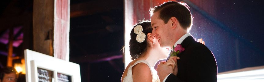 barn wedding reception forst dance purple lighting