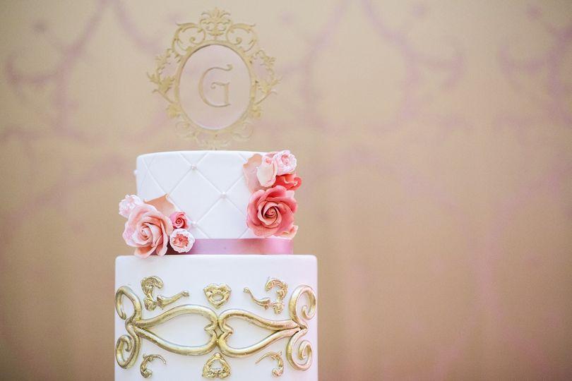 Blush & Gold elegant wedding cake at Westgate Hotel