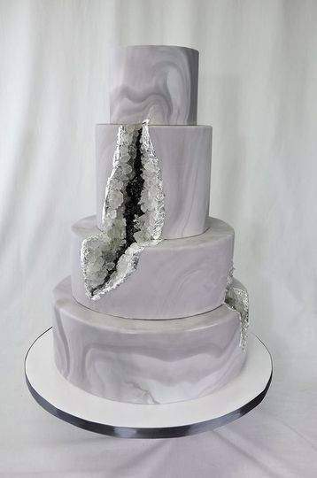 Awesome geode cake! Silver, charcoal, white with silver leaf