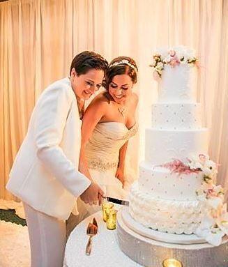Gorgeous wedding cake, same sex wedding at Park Hyatt Aviara