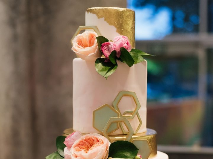Tmx 1452282706290 Geometric Cake Design Gold  Blush Hexagons Continu San Diego, California wedding cake