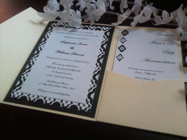 Yellow, black and white elegant wedding pocketfold invitation