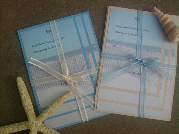 beach panel card wedding invitations, use your own favorite picture