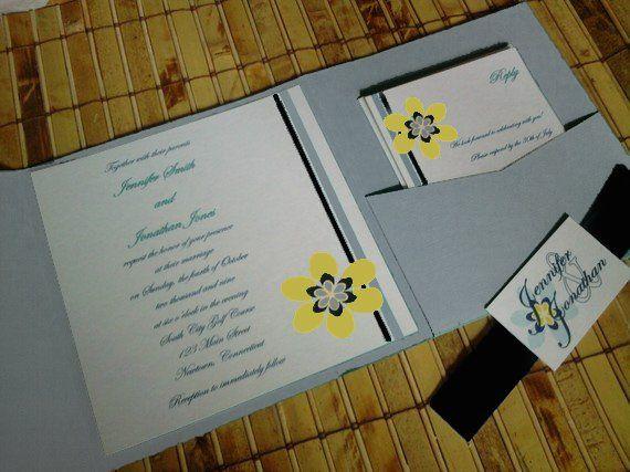 retro style invitation, in gray and yellow
