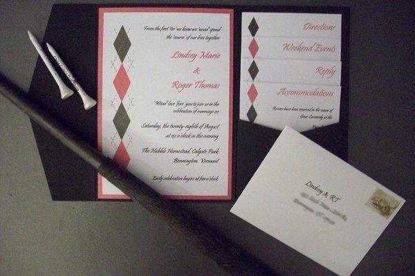 golf wedding invitation in fuschia and green accent