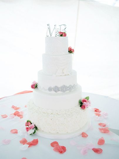 White wedding cake with minimal decor