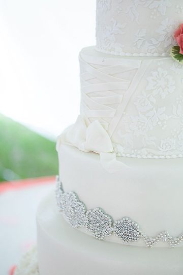 White wedding cake with a touch of silver