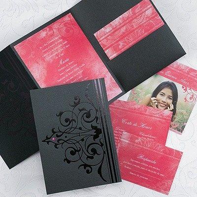 Tmx 1381259609303 Blackpinkpocketweddinginvitations2 Conshohocken wedding invitation