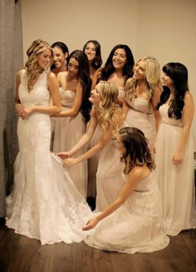 Bride and the bridsmaids