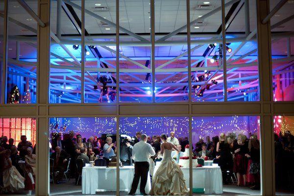 Atrium wedding reception at nightime