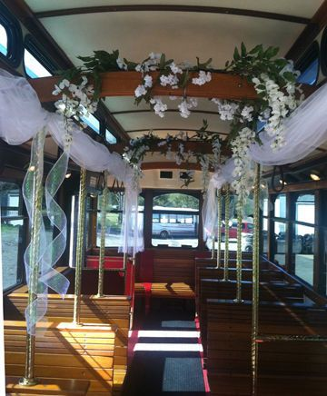 White Trolley Decor for Wedding