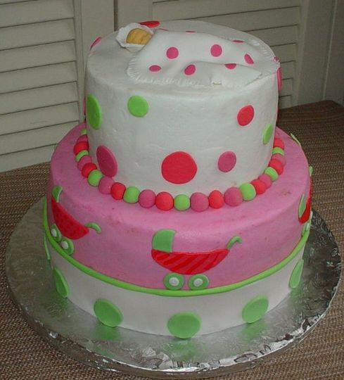 Baby Shower: Buttercream decorated with fondant baby, carriage, dots and stroller.