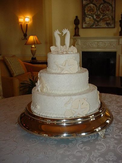 Three tier buttercream with sparkling sugar crystals, accented with shells and seahorses. Reception...
