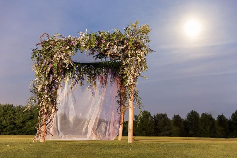 romantic moonlit wedding arbor