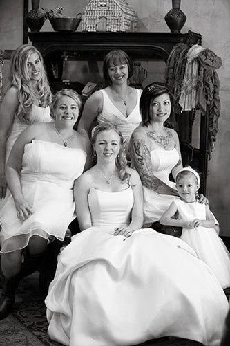 Professional makeup and hair for the entire bridal party
