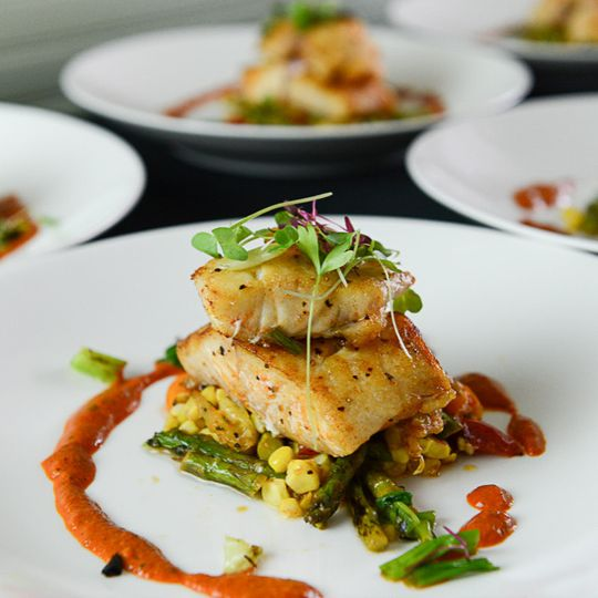 Pan Roasted Gulf Snappersummer grilled succotash of corn | asparagus | heirloom tomatoes | romesco...