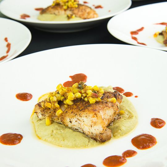 Pan Seared Grouper broccoli puree | corn maque choux | roasted red pepper sauce