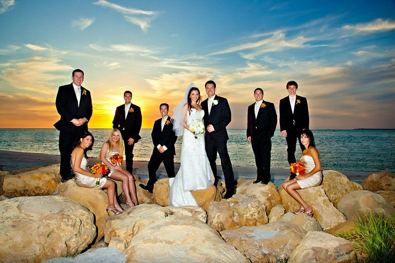 Couple with bridesmaids and groomsmen portrait