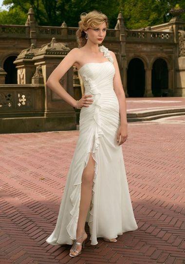 Mori Lee chiffon destination wedding dress