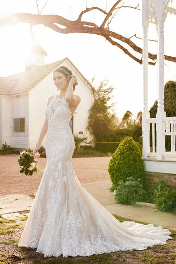 Martina LianaStyle 874A bold, lace high neckline sets the stage for this stunning Martina...