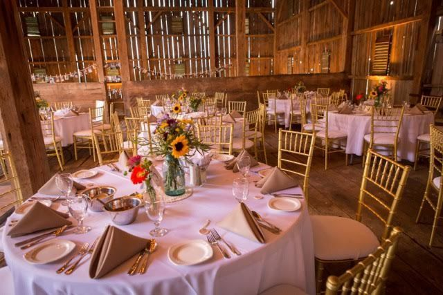 Turn a barn into an elegant affair with our Gold Chiavari Chairs