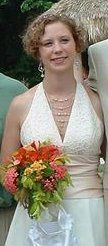 Here is the bride wearing the previous necklace. This is comprised of swarovski crystals, sterling,...