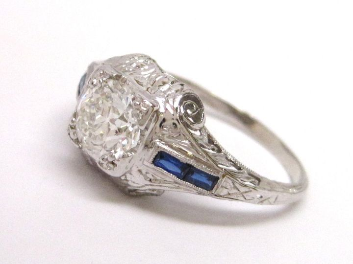 Pretty period correct diamond and blue sapphire ring.   This ring is subject to prior sale