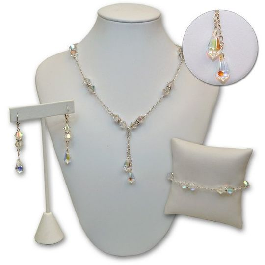 Swarovski crystal bridal jewelry set made to your specifications, colors and lengths
